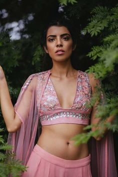 Blush Pink Embroidered Blouse, Palazzo Pants and Cape Set by Mani Bhatia Shop now and get 15% off, 21 day shipment or 15% cashback: https://www.perniaspopupshop.com/designers/mani-bhatia