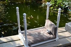 Fit for a King! From thrift shop table to Royal Dog Bed! Custom Dog Beds, Vintage Ideas, Porch Swing, Outdoor Furniture, Outdoor Decor, Dog Treats, Dog Toys, Reuse, Thrifting