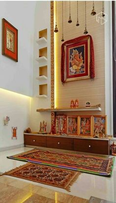 Puja Room Prayer Corner Jewelry Drawer Indian Interiors Deities Meditation Temple Planters Patio