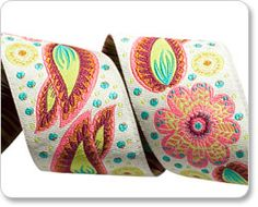 """Renaissance Ribbons - 1-1/2""""Coral Flourish Paisley"""