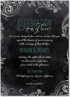 Signature White Wedding Invitations Chalk Celebration - Front : Bay