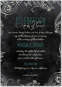 Signature White Wedding Invitations Chalk Celebration - Front : Bay