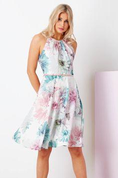 8da1e06af5b087 Floral Fit and Flare Dress with Belt in PINK - Roman Originals UK