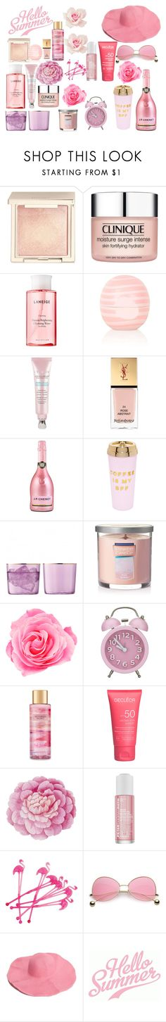 """""""Hello Summer"""" by kazami11 ❤ liked on Polyvore featuring beauty, Jouer, Clinique, Laneige, Eos, Yves Saint Laurent, ban.do, Yankee Candle, Victoria's Secret and Ballard Designs"""
