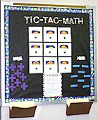 TITLE: Tic-Tac-Math    SUBJECT: 6th or 7th grade general math.    TOPIC: The topic of the board is a game called 24. The students have to add, subtract, multiply, or divide four numbers to get the number twenty- four.