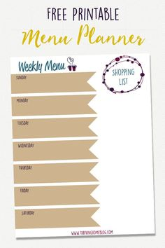 Free, printable menu planner. Print it off, put it in a frame and update it week by week. Meal planning has helped save loads of time and money. Totally worth it!   Thriving Home