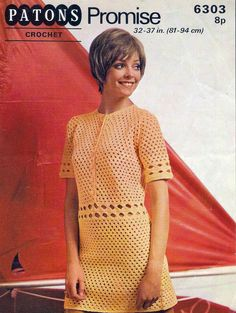 Vintage Ladies Dress in sizes Bust, Crochet Pattern, 1970 (PDF) Pattern, Patons 6303 by on Etsy Retro Crochet Dress, Vintage Crochet Dresses, Vintage Dress Patterns, Crochet Clothes, Crochet Tops, Dress Vintage, Vintage Clothing Stores, Crochet Fashion, Doll Clothes
