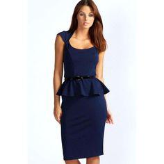 Boohoo Night Keeley Peplum Belted Midi Dress ($35) ❤ liked on Polyvore featuring dresses, navy, navy blue midi dress, bodycon cocktail dress, peplum dress, navy midi dress and midi dress