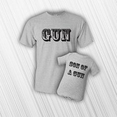 Father Son Matching Shirts  New Baby  Gun Son by MilwaukeeApparel