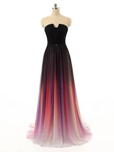 Long Chiffon Strapless Bridesmaid Dresses Gradient A-line Wedding Party Gown Cheap Prom Dresses Backless
