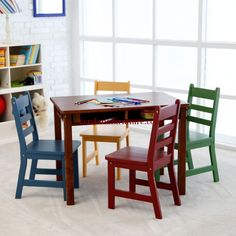 Lipper Childrens Walnut Rectangle Table And 4 Chairs   Activity Tables At  Hayneedle