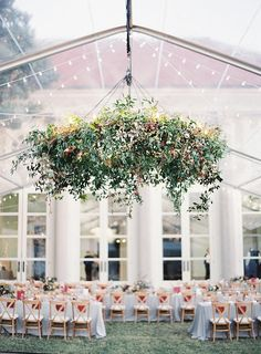 Clear-Top Tent Real Wedding Elegant Clear-Top tent wedding with a lush, green chandelier.Elegant Clear-Top tent wedding with a lush, green chandelier. Green Chandeliers, Floral Chandelier, Chandelier Bedroom, Marquee Wedding, Tent Wedding, Garden Wedding, Wedding Aisles, Wedding Backdrops, 2017 Wedding