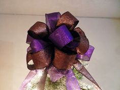 Large Christmas Tree topper bow made with a  purple shimmer and brown glitter  ribbon and brown glitter ribbon by creativelycarole on Etsy