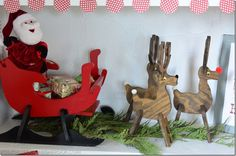 Handmade Wooden Reindeer & Sleigh , Christmas Tree & North Pole Kids Corner
