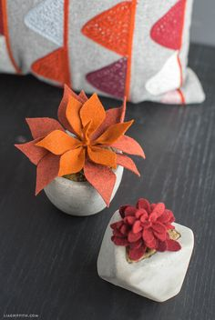 DIY Potted Felt Succulents for Fall