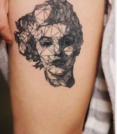 black and white geometric tattoo art