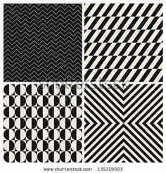 seamless pattern background set retro vintage design vector - stock vector