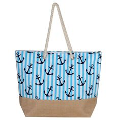 Enjoy a day at the beach or pool with our beach bag! Beach Tote Bags, Canvas Tote Bags, Cotton Rope, Folded Up, Tote Handbags, Cotton Tote Bags, Bag Making, Zipper, Shoulder