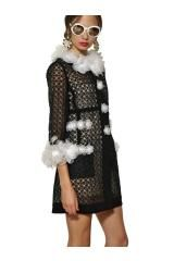 Moschino Flower Embroidered Techno Organza Coat in Black - Lyst
