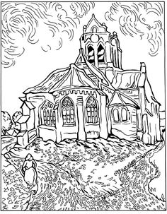 Free Coloring Page Difficult Van Gogh Auvers Church The At By Vincent