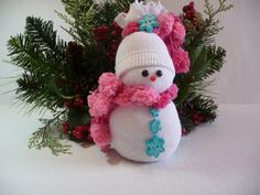Snow Baby  Sock Snowman by DragonflyKrafts on Etsy, $10.00
