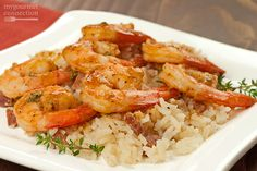 Served over rice, this quick and easy shrimp sauté gets its delicious flavor from a combination of Old Bay Seasoning, lemon, Tabasco, Worcestershire and fresh thyme. Fish Recipes, Seafood Recipes, Dinner Recipes, Cooking Recipes, Healthy Recipes, Sauted Shrimp Recipes, Shrimp Dishes, Fish Dishes, Main Dishes