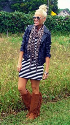 love the striped dress with the jacket...could live without the boots...