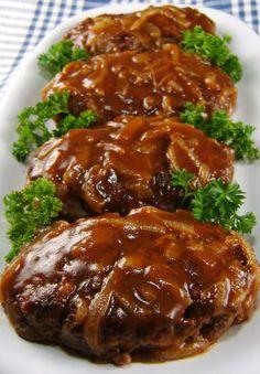 Salisbury Steak -- Ground Beef, Seasoned Breadcrumbs, Dry Mustard, Beef Bouillon, Worcestershire Sauce, Ketchup, Salt And Pepper .. [Gravy] Onion, Beef Broth, Worcestershire, Ketchup, Kitchen Bouquet, Corn Starch, Olive Oil, Butter, Salt And Pepper