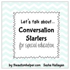 Students with autism struggle with conversation skills. Many children have difficulty coming up with novel questions, staying on topic, and asking reciprocal questions. This resources provides targeted and on topic questions on 48 different specific topics.