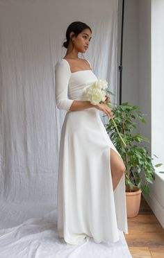 Ivory Dresses, Elegant Dresses, Pretty Dresses, Prom Dresses, Dresses With Sleeves, White Dress With Sleeves, Ivory Bridesmaid Dresses, One Sleeve Dress, Simple Elegant Wedding Dress