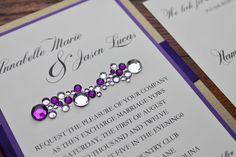 Bling, Modern Wedding Invitation, Glamorous and Luxurious Wedding Invite - Clustered Crystal. $6.00, via Etsy.