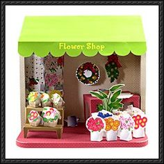 Flower Shop Doll House Free Diorama Papercraft Download