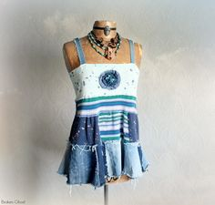 Upcycled Clothing Denim Patchwork Bohemian by BrokenGhostClothing