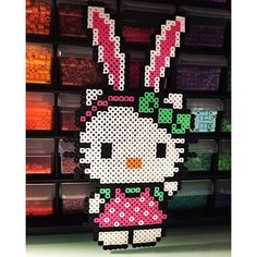 Easter Hello Kitty perler beads by perlermom - Original design by kittybeads