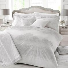 The Holly Willoughby Iva bed linen range features a sophisticated soft grey lace print set against crisp white cotton. Bedding Sets Online, Duvet Bedding Sets, Grey Bedding, Linen Bedding, Bed Linens, Comforters, Luxury Duvet Covers, Bed Duvet Covers, Luxury Bedding