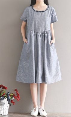 Women loose fit plus size pocket dress flower embroidered tunic casual fashion #unbranded #dress