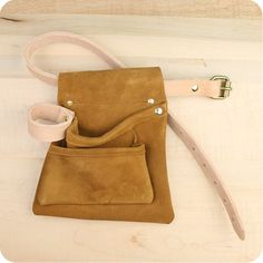 Brown Suede/Leather Tool Belt Pouch