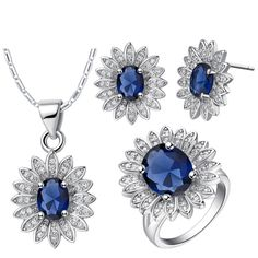 925-Sterling- Silver Sets For Women White Red Green Blue Flower Crystal Necklace Earrings Ring Wedding Jewelry Sets For Brides