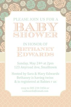 Baby Shower Invitations Peach and Teal by SugarPickleDesigns, $7.00