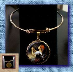 St Bernadette Patron Saint against poverty, illness, sickness Bangle Wire Charm BRACELET Adjustable with hand pressed CABOCHON by CurioCave on Etsy