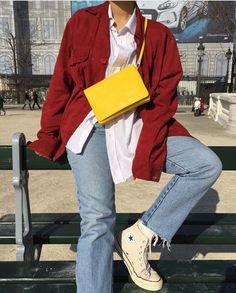 Converse, red, jeans, yellow, shirt