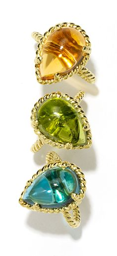 The Caribbean Dream Gift Guide - Cassis (from top) gold and citrine ring, $1,620, gold and peridot ring, $5,095, and gold and topaz ring, $1...