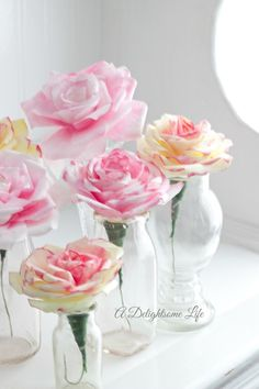 sweet roses made out of coffee filters in bud vases