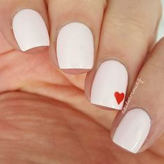 Sweet and Simple Valentines Day nail art with a base of OPI: Lets Be Friends! a soft pink creme nail polish from the Hello Kitty Collection Acrylic Nails, Gel Nails, Nail Polish, Simple Nail Designs, Nail Art Designs, Pink Nails, White Nails, Heart Nails, Trendy Nail Art