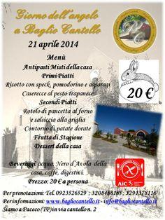 Per il giorno dell'angelo ecco pronto il - Menù di Pasquetta - a pranzo il 21 aprile 2014.