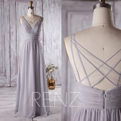 2016 Light Grey Bridesmaid Dress Long, V Neck Wedding Dress, Off White Mesh Spaghetti Strap Prom Dress, Formal Dress Floor Length (L126A) by RenzRags on Etsy https://www.etsy.com/listing/291829765/2016-light-grey-bridesmaid-dress-long-v