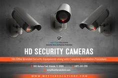 Place a watchful eye on your property using durable and weatherproof Indoor/Outdoor HD security cameras with night vision. Wetter Solutions provide all top brand security cameras along with installation service in Orlando.