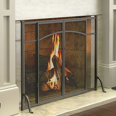 Hyde Park Flat Panel Fireplace Screen with Doors ($110) ❤ liked on Polyvore featuring home, home decor, fireplace accessories, hearth screen, fire place screen, fireplace log holder, fireplace doors screens and black home decor