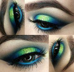 Pfau inspiriert dramatische Augen Make-up Ideen Pfau Augen Make-up Proben & Tipps Peacock Eye Makeup, Dramatic Eye Makeup, Smoky Eye Makeup, Hooded Eye Makeup, Colorful Eye Makeup, Dramatic Eyes, Makeup For Green Eyes, Natural Eye Makeup, Blue Eye Makeup