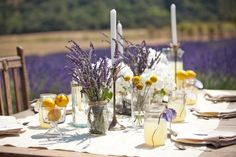 Featured in Bridal Guide Magazine : Lavender Love with Lemons - Best Wedding Sites - wedding planning directory and guide for weddings, favo. Lavender Wedding Decorations, Lavender Centerpieces, Lavender Decor, Lilac Wedding, Wedding Table Decorations, Wedding Arrangements, Wedding Table Settings, Wedding Centerpieces, Summer Wedding